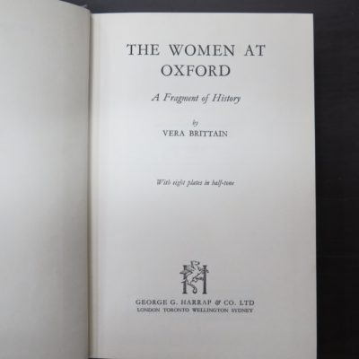 Vera Brittain, Women At Oxford, George Harrap, London, Ian Fleming, John Henry Godfrey, Dunedin Bookshop, Dead Souls Bookshop