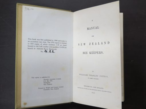 William Charles Cotton, A Manual for New Zealand Bee-keepers, Wellington, Natural History, New Zealand Non-Fiction, Dunedin Bookshop, Dead Souls Bookshop