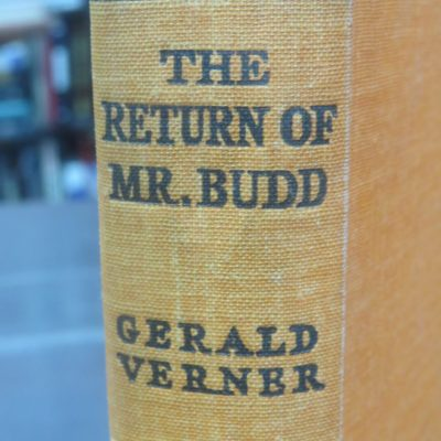 Gerlad Verner, The Return of Mr. Budd, Wright & Brown, London, 1938, Vintage, Dead Souls Bookshop, Dunedin Bookshop