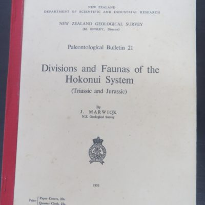 Faunas of the Hokonui System, Government Printer, Wellington, 1953, New Zealand Natural History, Dead Souls Bookshop, Dunedin Bookshop