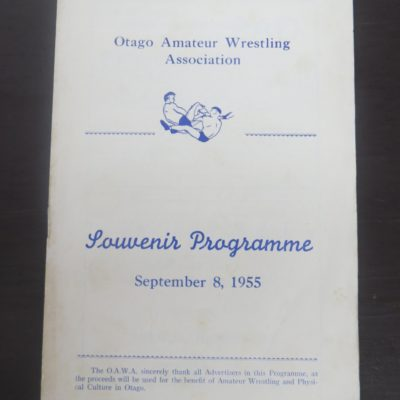 Otago Amatuer Wrestling Association Souvenir Programme, New Zealand Sport, Dead Souls Bookshop, Dunedin Book Shop