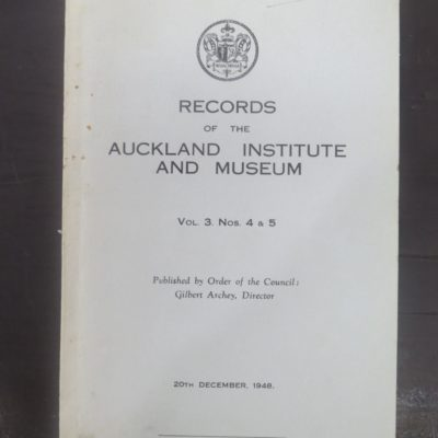Records of the Auckland Institute and Museum, Vol. 3, Natural History, New Zealand Non-Fiction, Science, Dead Souls Bookshop, Dunedin Book Shop