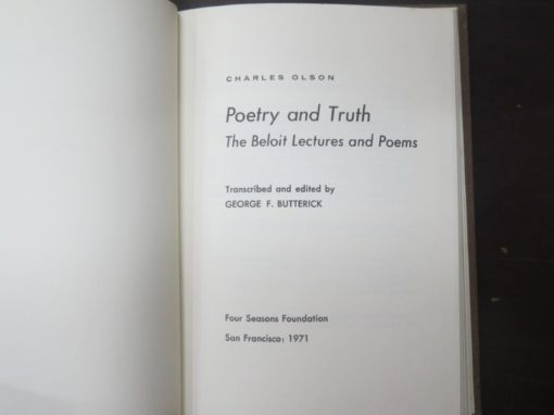 Charles Olson, Poetry And Truth, Lectures, Four Seasons Foundation, San Francisco, Literature, Philosophy, Poetry, Dead Souls Bookshop, Dunedin Book Shop