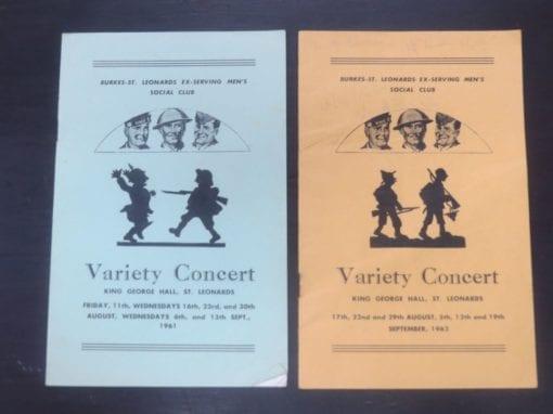Variety Concert, King George Hall, St. Leonards, 1962, Otago, Dunedin, Dead Souls Bookshop, Dunedin Book Shop