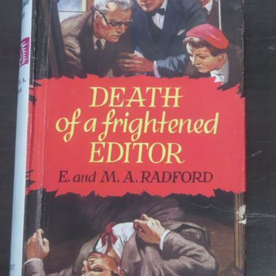 "E. and M. A. Radford, Death of a frightened Editor, A ""Doctor Manson"" Detective Novel, Robert Hale Ltd, London, 1959, Crime, Detection, Murder, Dunedin Book Shop, Dead Souls Bookshop"