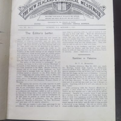 The New Zealand Evangelical Messenger, Vol. III, No.1 - No. 12, 1911 - 1912, Editor, Theodore Arnold, Dunedin, Religion, Dead Souls Bookshop, Dunedin Book Shop