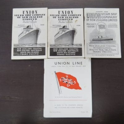 4 x Union Steam Ship Company of New Zealand, pocket and other guide, New Zealand Maritime, Nautical, Sailing, New Zealand Non-Fiction, Dead Souls Bookshop, Dunedin Book Shop
