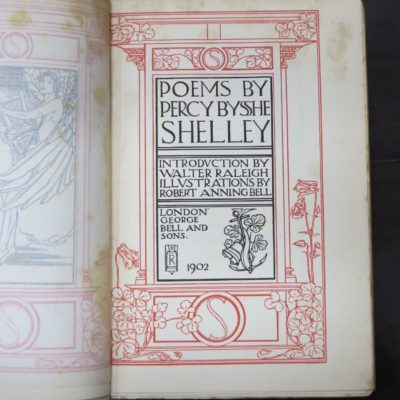 Percy Bysshe Shelley, Poems, Introduction by Walter Raleigh, Illustrations by Robert Anning Bell, The Endymion Series, George Bells and Sons, 1902,, Poetry, Literature, Art, Illustration, Dead Souls Bookshop, Dunedin Book Shop