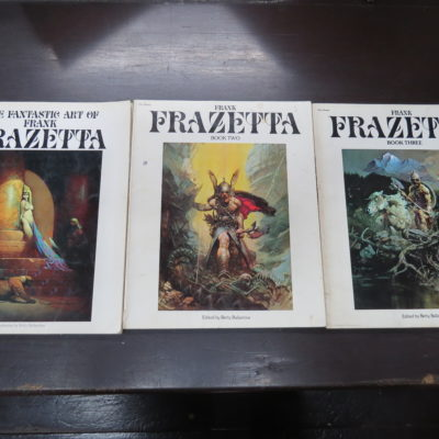 Betty Ballantine ed., The Fantastic Art of Frank Frazetta, 3 books, Pan, London, 1976, 1977, 1978, Horror, Fantasy, Art, Illustration, Dead Souls Bookshop, Dunedin Book Shop